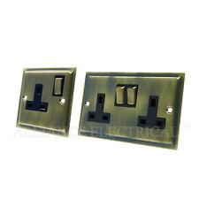 Slimline Antique Brass 1 Gang / 2 Gang Socket - 13A Single / Double Plug Outlet