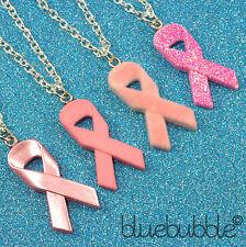 Funky Cinta Rosa Collar Breast Cancer Awareness caridad Dulce Esperanza Moño De Regalo