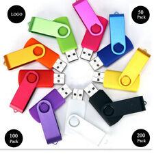 Lot 50pc 1/2/4/8GB  Swivel USB Flash Drive Memory Stick Random Color Logo Gift