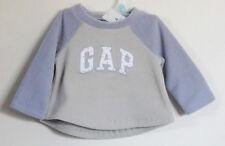 New BABY GAP Light Gray Purple Arch Top Long Sleeve Fleece Tops