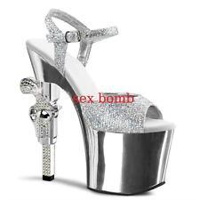 Sexy SANDALI ARGENTO Glitter Plateau Tacco REVOLVER 18 dal 35 al 42 CLUB glamour