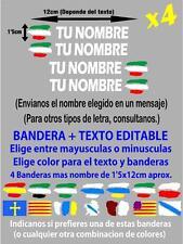 (p020) 4 x BANDERA EUSKADI IKURRIÑA NOMBRE EDITABLE PEGATINA VINILO CASCO BTT