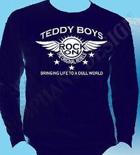 Teddy Boy homenaje de Superdry de manga larga Rock And Roll Cafe Racer los 50 Años 50