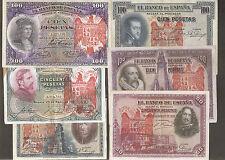LOTE 6 BILLETES 1925 / 1931 AGUILA DE SAN JUAN BURGOS CIVIL RESELLO FRANCO sdfgb