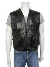 New Men Black Napa Sleeveless Leather Jacket Fisherman Waistcoat Bike Rock Class