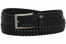 Trafalgar Men's Owen Black Genuine Full Grain Braided Leather Belt