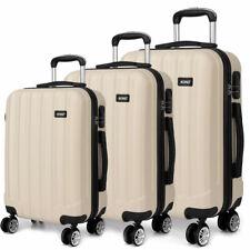 Beige 3PCS Suitcase Set 4 Wheel Hand Travel Luggage Trolley Case