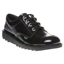 NUOVO Ragazzo KICKERS NERO KICK LO CORE calzature in cuoio lacci
