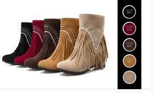 stivali stivaletti stiletto scarpe donna 6 rosso beige giallo nero frange 9413