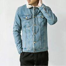 Hot Men's Coat Denim Jeans Jacket Fashion Lapel Casual Slim Outwear Warm Winter