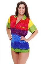 Funky Hawaiibluse Rainbow Horizontal verschiedene Größen Hawaiishirt