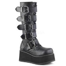 Women's Black Platform Military Punk Goth Gothic Knee High Boots TRA518/B/PU