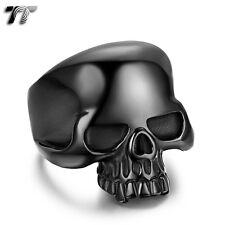 Cool Stunning TT 316L Stainless Steel Black Skull Ring Size 8-13 (RZ57) NEW