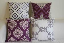"""Vintage Gray&Purple Lavender Set Home Décor Linen CUSHION COVER PILLOW CASE 18"""""""
