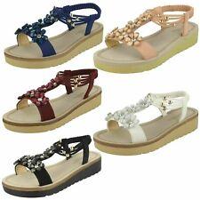 Ladies F1R0872 Wedge Slip On Summer Sandals By Savannah Retail Price