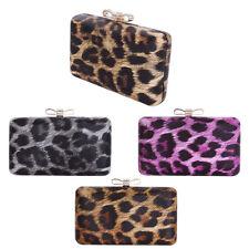 Elegant Leopard PU Leather Crystal Bow Top Hard Clutch Evening Bag Handbag