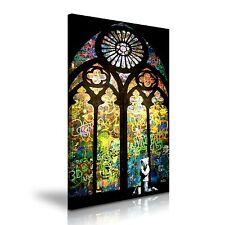 BANKSY Stained Glass Prayer Graffiti Canvas Wall Art Print Framed Box