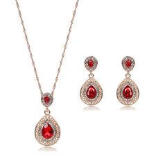 Fashion Women Rhinestone Crystal Pendant Necklace Chain Earrings Jewelry Set  XI
