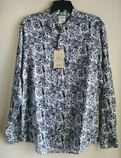 Murano Baird McNutt Men's Shirt Long sleeve linen Blue Floral print Sz M L New