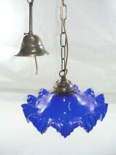 Lampadario sospensione ottone vetro opaline blu