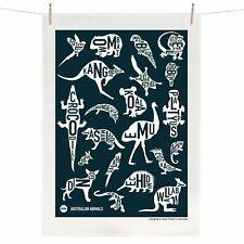 Australian Animals Tea Towel Australian Souvenir 100% Linen Map Gift