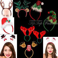 FUNKY Duende Navidad Verde diadema con el Rojo Lazo & Santa BANDA