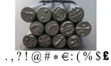 13 Punctuation Sign Marks Precision Design Metal Punch Stamps 5 mm Single/ Set