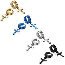 2pcs Stainless Steel Small Hoop Huggie Cross  Drop Dangle Hinged Earrings Unisex