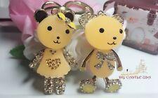 Crystal Cute Lovely Couple Bear 2 Key chain key fob key tools + Gift Box
