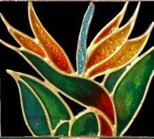 Bird of Paradise Night Light Wall Plug In Tropical Flower Stain Art Glass Decor