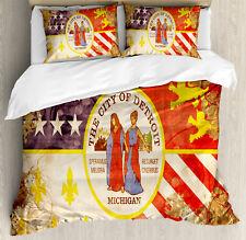 Detroit Duvet Cover Set with Pillow Shams Antique Old USA Flag Print