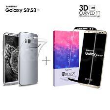 COVER per SAMSUNG GALAXY S8 / S8 PLUS + PELLICOLA VETRO TEMPERATO 3D CURVO
