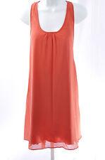 YLA Women's Sleeveless Silk Blend Sexy Open Back Bow Chiffon Dress Coral L