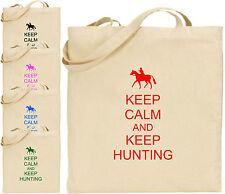 mantenerse calm and keep CAZA Grande Cotton Tote Bolsa Hunter Regalo Navidad