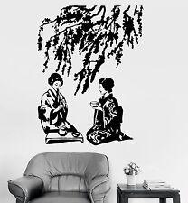 Vinyl Wall Decal Geisha Tea Ceremony Japanese Sakura Tree Stickers (708ig)