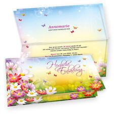 NEU Einladungskarten Geburtstag Einladung FLORENTINA Blumen mit Umschläge Karten