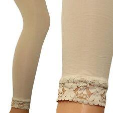 Enfants Legging Opaque Fille Leggings Long Pointes Clôture crème dentelle