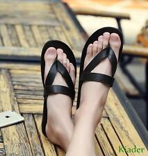 Mens New Faux Leather Flip Flops Flat Beach Slip On Roman Casual Sandals Shoes