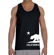New Men's Cali Flag Bottom Black Tank Top Shirt California West Coast Tee V124