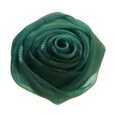 Bague VERT foncé Fleur rose organza réglable ajustable Taille 56 58 60 62 64 66