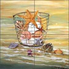 Ceramic Tile Mural Shell Basket by Carol Walker POV-CWA008