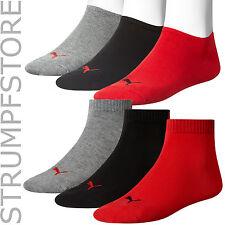 3 6x Par Puma Zapatillas O cuartos Calcetines cortos unisex Rojo Negro Gris 232