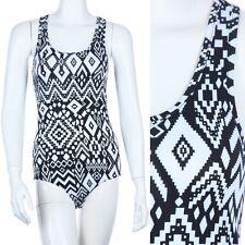 Geometric Print Front Mesh Back Panel Sleeveless Bodysuit Snap Button Sexy S M L