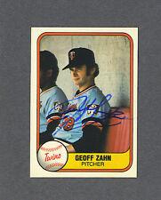 Geoff Zahn signed Minnesota Twins 1981 Fleer baseball card