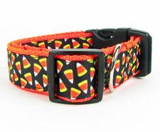 "Halloween Candy Corn dog collar handmade, adjustable, buckle collar 1""wide leash"