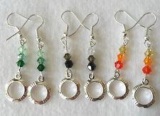 Glass crystal + hoop dangle earrings - colour choice