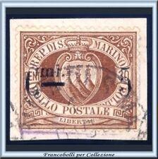 1892 San Marino Stemma 5 cent su 30 cent. bruno Catalogo n. 9 Usato su frammento