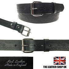 """Black 1.5"""" Full Grain Leather Pattern 40mm Press Stud Silver Roller Buckle Belt"""