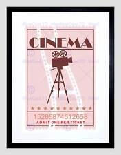 Rétro vintage cinéma cinéma billet noir encadré art imprimé B12X14034