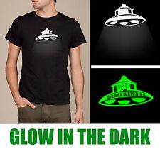 UFO Alien t-shirt Glow in the Dark with hidden message, SCREEN PRINTED.